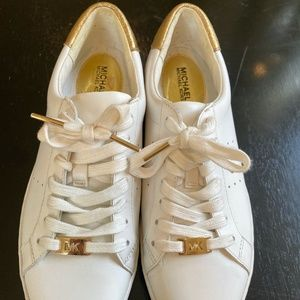 Michael Kors women's white and gold running shoes